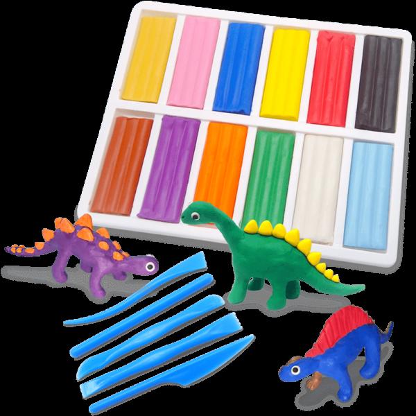 12色彩色油土恐龍組合